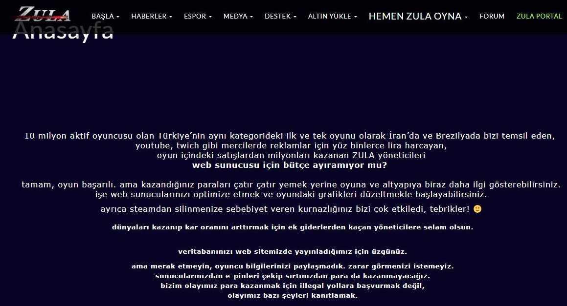 Zula İnternet Sitesi Hacklandi