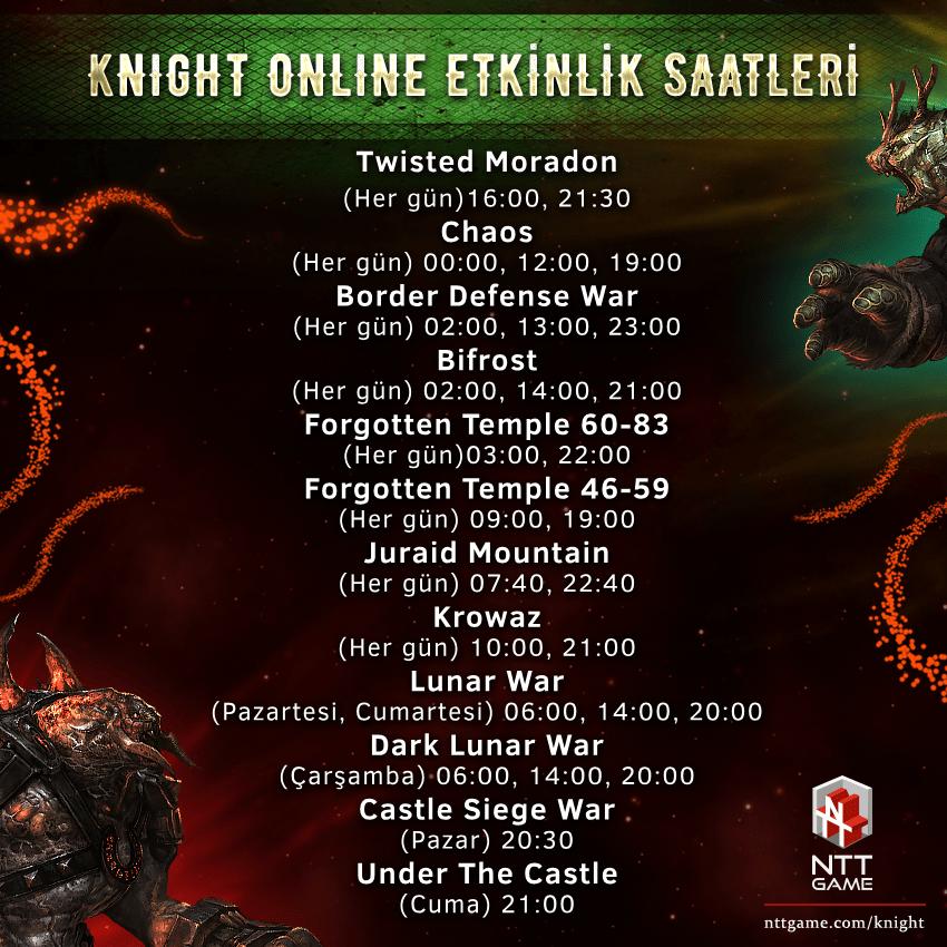 Knight Online Event ve Etkinlik Saatleri