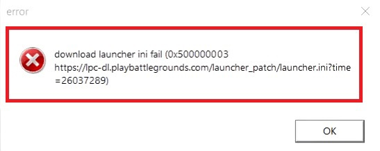 PUBG lite download launcher ini fail (0x500000003)